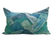 Kelly Wearstler Edo Linen lumbar pillow cover in Teal