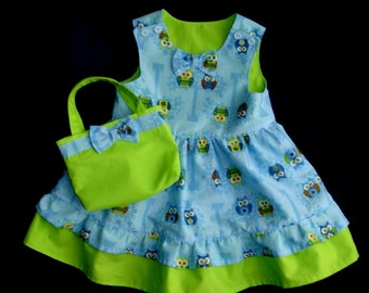 Girl's Blue & Green Owl Print Dress With Double Ruffle and Matching Purse Size 2T