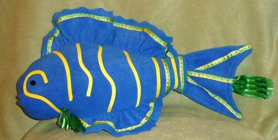 Bright blue fish shaped pillow with yellow and green trim for Fish shaped pillow