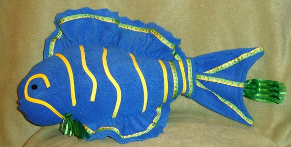 Bright Blue Fish Shaped Pillow With Yellow And Green Trim