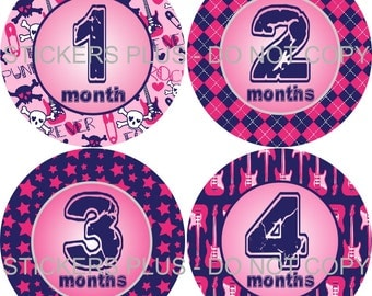 Baby Month Stickers Plus FREE Gift Monthly Milestone Stickers   Baby Girl Punk Rock Star Argyle Purple Pink - 1-12 Months  -