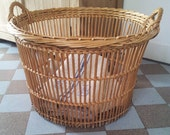 Large Round Vintage French Laundry Basket