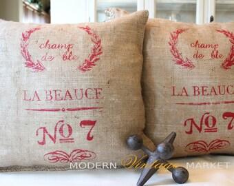 1 Burlap Pillow ,18 x 18 ,Custom Pillows,French Grainsack Pillows , Custom Pillows, Modern Vintage Market