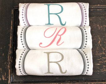 6 Custom Monogrammed Towels,TeaTowels ,Flour Sack Towels,Monogrammed Towel,Kitchen Towel,Monogram Towel, Modern Vintage Market