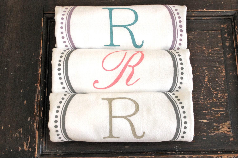 6 Custom Monogrammed Towelsteatowels Flour Sack