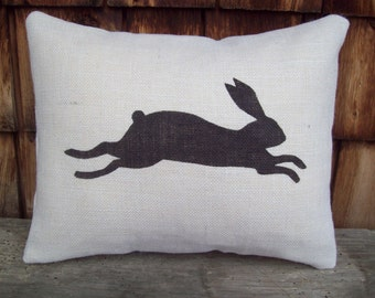 Bunny Pillow, Easter Pillow, Stuffed Burlap Pillow, Decorative Pillow, Rabbit Pillow, Country Home Decor, Farmhouse Decor, Cabin Decor