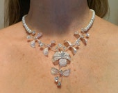 Bridal Jewelry Necklace Swarovski Pearls and Silver Orchids