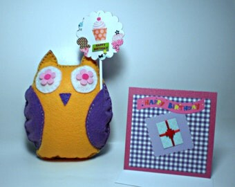 Felt Owl with Cake Topper Birthday Combo Set at a NEW LOW PRICE!!!