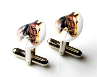 Horse Cufflinks - Wedding Gift - Handmade - Gift Box Included