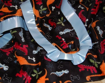 Dinosaur Minky Blanket with Satin Trim- READY TO SHIP
