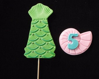 Mermaid Tails and Personalized Sea Shell Fondant Cupcake Topper Decorations - Perfect for Mermaid, Princess, Beach or Pirate Parties