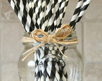 25 Black and White Striped Paper Party Straws