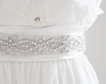 CINDY - Silver Beaded Rhinestone Bridal Belt, Wedding Sash