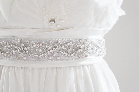 CINDY - Silver Beaded Rhinestone Bridal Belt, Wedding Sash