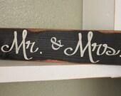 Large Wood Sign - Mr & Mrs - Subway Sign