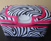 Zebra Fabric Covered Baby Wipes Nursery Container With Pink And Black Ribbon Trim
