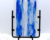Art Glass Abstract Panel Sculptural Ice Flow Down The River Artist Signed