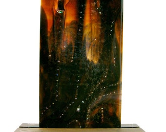 Abstract Art Fused Glass Panel Outer Space For Your Home or Office Artist Signed
