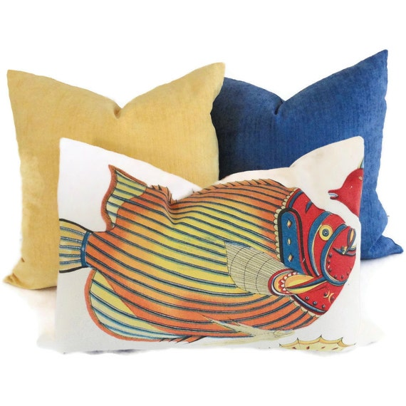 Colorful tropical fish decorative pillow cover 12x18 by for Fish throw pillows