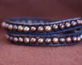 Inspired 2x leather wrap bracelet, copper pearls on brown leather, men, women (B224)