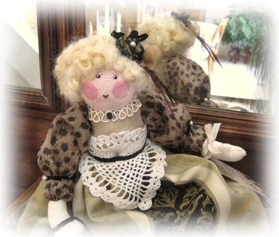 OOAK Art Doll Cloth Doll MAMIE 17 inch Handmade Doll Soft Sculpture CharlotteStyle SIGNED