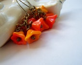 Flower Earrings Czech Glass Orange Summer