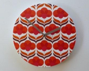 Objectify Retro Poppy Pattern Wall Clock