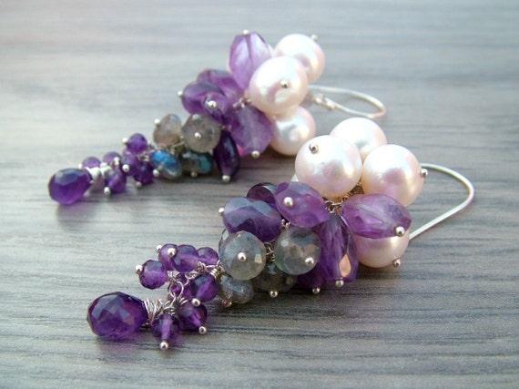 Purple Amethyst Earrings - Long Cluster Earrings Freshwater Pearl Earrings Sterling Silver Earrings - AEGA
