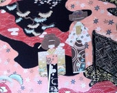 SALE- Japanese Anesama Dolls in black by  Alexander Henry Indochine Fabric Collection (1 yard) SALE SALE