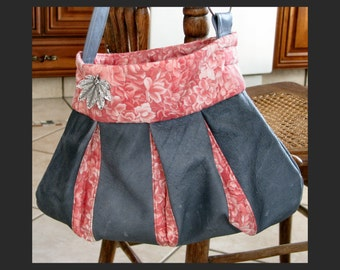 Leather and Floral in Shades of Pink  Spring Purse (bag, tote, handbag)Free shipping inside U.S.