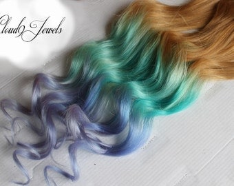 Pastel Clip In Hair Extensions, Ombre Hair,  Mint, Purple, Tie Dye Tips,  Hair Wefts, Human Hair Extensions, Hippie hair