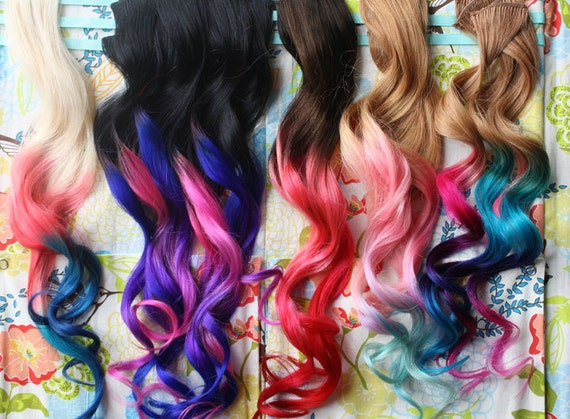 CUSTOM Ombre Dip Dyed Hair Clip In Hair Extensions Tie Dye