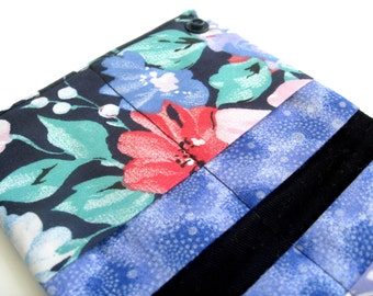 CLEARANCE - Credit card organizer - 8 pockets - Business card holder - Purple flowers - Ready to ship