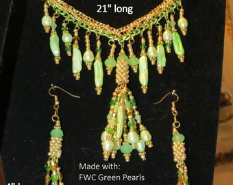 Sale!! OOAK Green H20 Pearls & Gold Seed Beads, Hand-Beaded Necklace, Bracelet, Earring Set 1212-2 Free Ship U.S.A.