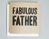 Lino printed card - Fabulous Father -  hand printed