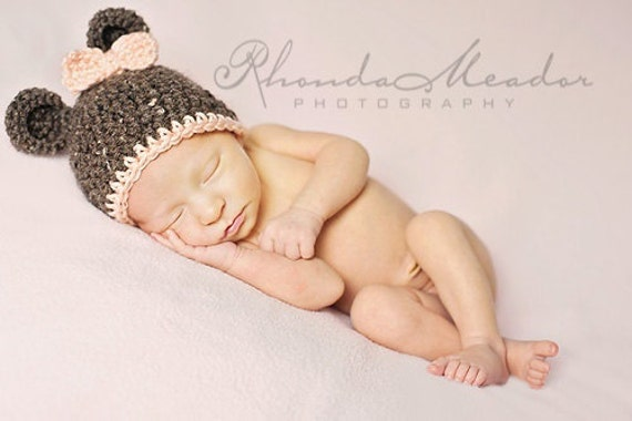 CROCHET PATTERN - Teddy Bear Hat - (4 sizes included) PDF pattern bear beanie photo prop newborn baby hat photography prop animal hat