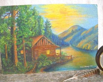 1956 Original Woodland Acrylic Painting - Eureka Springs, Arkansas