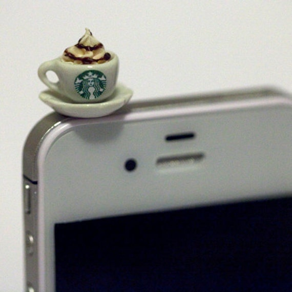 Kawaii STARBUCKS CAPPUCCINO Iphone Earphone Plug/Dust Plug - Cellphone Headphone Handmade Decorations