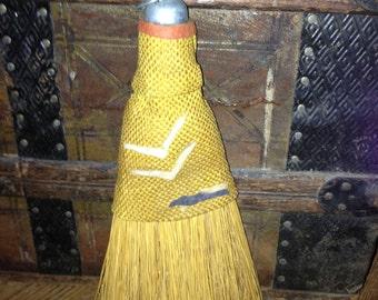 Vintage old golden bristle hand wisk broom