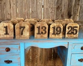 Set of 25 Wood Table Numbers Rustic Vintage Distressed Shabby Chic Wedding Chalkboards