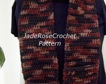 Crochet Pocket Scarf Pattern, Easy Unisex Crochet Scarf Pattern PDF221