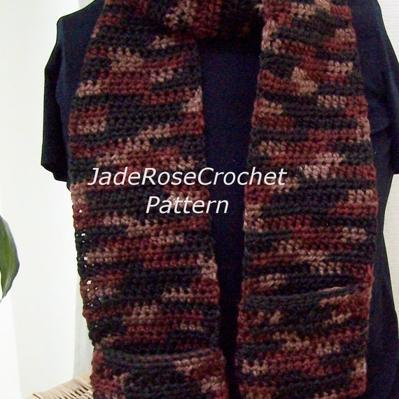 Free Crochet Pattern Pocket Scarf : Crochet Pocket Scarf Pattern Easy Unisex Crochet Scarf