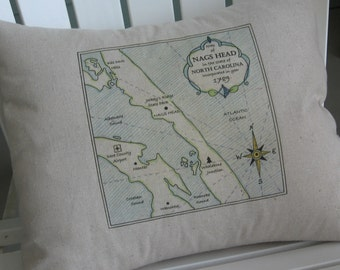 Large Nags Head, North Carolina Vintage Map Pillow, Blue Pillows, Beach House, Shore, Nautical Pillows, Blue Pillows, Beach Decor