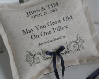 Ring Bearer Pillows Personalized, Armenian Blessing, Grow Old On One Pillow, Custom, Wedding, Blue Ring Bearer Pillows, French Country