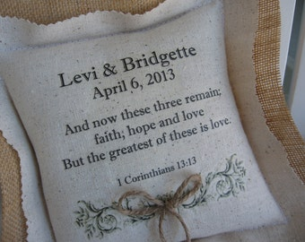 Ring Bearer Pillows Personalized, Bible Verse, Custom Lettering, Wedding, Flower Girl, Burlap Ringbearer Pillows