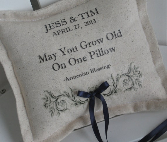 Ring Bearer Pillows Personalized Armenian Blessing Grow Old