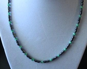 Nice Hematite with Green Beads Necklace