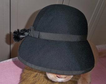 1940s Black Crawford Hollidge Wool Felt Hat.