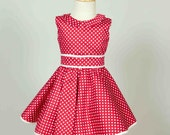 Red and White Polka Dots Dress for Girls - Vintage style Summer dress for girls - Elegant summer dress for girls