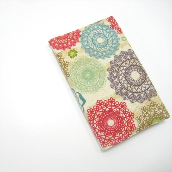 Moleskine Notebook cover, girly fabric cover to fit large Moleskine hardcover planner or journal, cotton anniversary gift